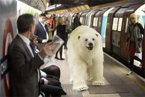 UK – Sky Atlantic polar bear lands in London