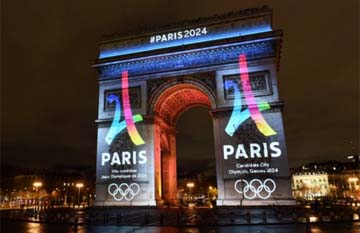 FRANCE – Paris 2024 logo lights up Arc de Triomphe with Double 2
