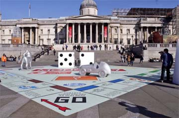 UK – Giant Monopoly board takes over Trafalgar Square for the London Games Festival