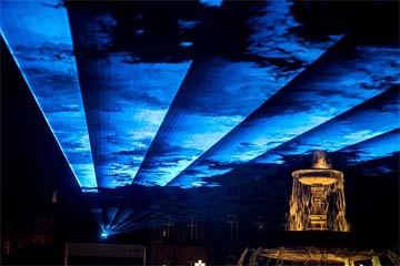 GERMANY – Stuttgart's Schlossplatz under water with EnBW's walkable sound and laser installation
